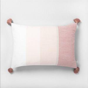 Hearth & Hand Striped Tassel Throw Pillow Rose